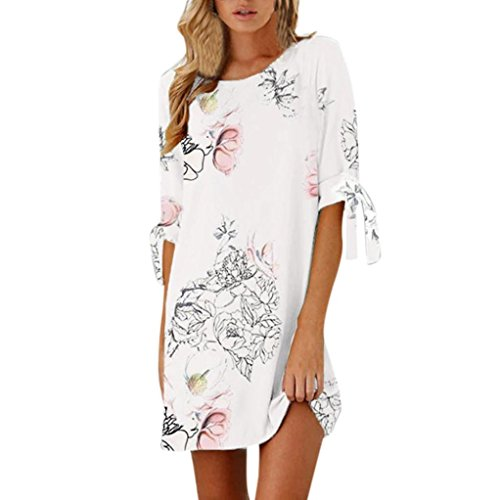 Snowfoller Women Summer Tank Top Half Bowknot Sleeve Dress Fashion O-Neck Floral Casual Short Mini Dress (M, White) Mini Dress Kimono Top