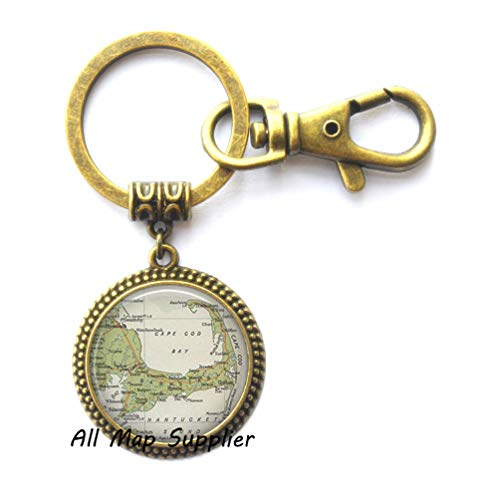(AllMapsupplier Charming Keychain Cape Cod map Key Ring,Cape Cod Key Ring,Resin Key Ring,Cape Cod Keychain map Jewelry,A0030 (2))