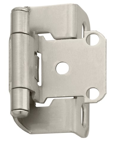 Amerock BPR7550G10 Self-Closing, Partial Wrap Hinge with 1/2in(13mm) Overlay - Satin Nickel - 2 Pack - Closing Partial Wrap Overlay Hinges