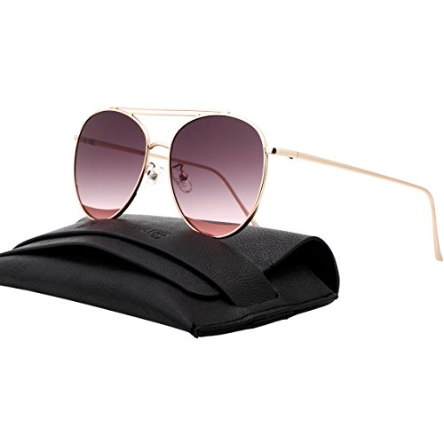 ddbeba673d5e Galleon - VIVIENFANG Double Bridge Oversized Aviator Sunglasses Flat Mirror  Lens Polarized Shades For Unisex 87241A