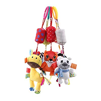 HAOWANG Baby Products 0-1 Year Old Cute Animal Bed Stroller Car Hanging Baby Teether Rattle Toy Cow 3#: Toys & Games
