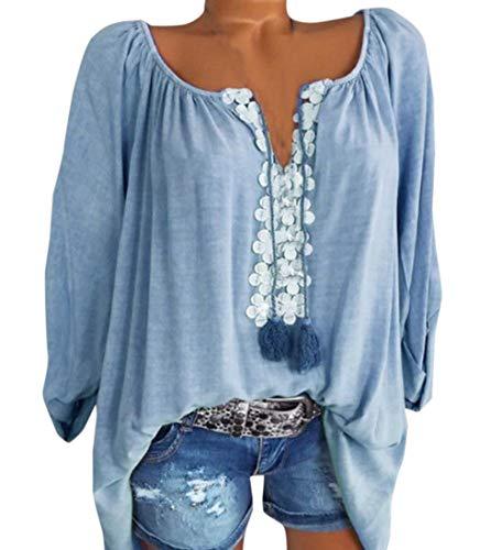 Shirts Moda Sciolto Bluse Camicie Cucitura Simple Donna Autunno e Fashion Lunga Blu Pizzo Cime Maglie Primavera Manica a Lago Maglietta Top Casual x7w7Xzq