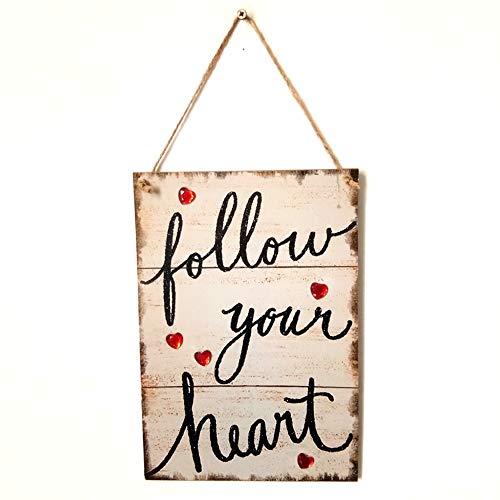 NarutoSak Follow Your Heart Wooden Hanging Sign Home Garden Door Wall Plaque Decoration