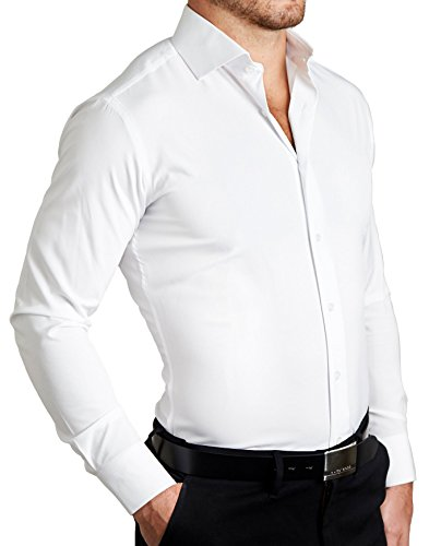 Adolfo Men's Long Sleeve Cotton Blend Point Collar Slim Fit Dress Shirt with Convertible Cuff and Unbreakable Buttons