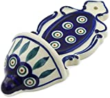 Polish Pottery 7¾-inch Wall Pocket (Peacock Leaves Theme) + Certificate of Authenticity
