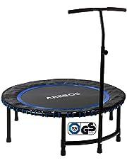 Arebos Fitness trampoline met handgreep, tot 120 kg, TÜV-getest, lichaamstraining en cardio-workouts, stille rubberen touwvering, rond of hexagon, rood of blauw, jumping fitness trampoline