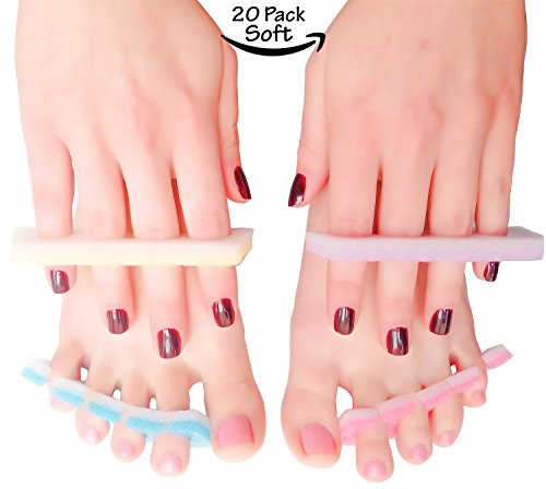 Pedicure Manicure Toe Separators Spacers Durable Soft Foam Individually Wrap Disposable For Nail Finger Foot Spa Professional Quality Home or Salon (20 Pack (40 pc), Soft)