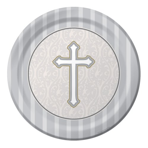 - 8-Count Round Dessert Plates, Silver Devotion Cross