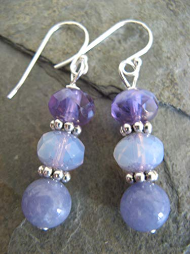 (Purple Lavender Czech Picasso Glass Angelite Gemstone Earrings on Sterling Silver Wires Boho Artisan Jewelry)