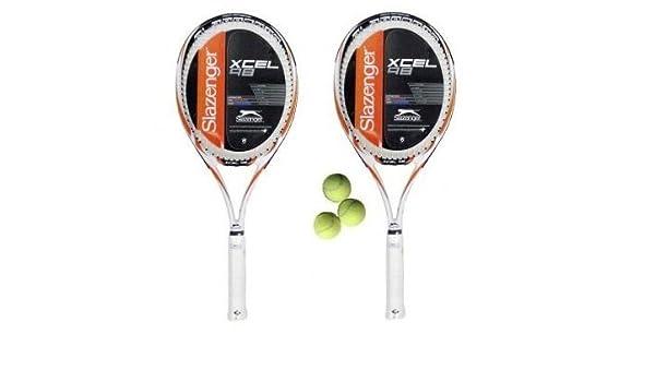 Slazenger Xcel - Raquetas de tenis (2 unidades, L3, incluye 3 pelotas): Amazon.es: Deportes y aire libre