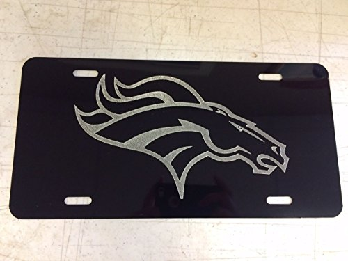 - Diamond Etched Denver Broncos Logo Car Tag on Black Aluminum License Plate