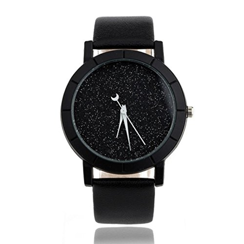 GBSELL Star Minimalist Fashion Watches For Lovers Leather Strap Watch (Black)