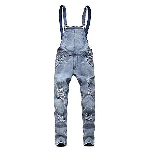 [해외]Losait Men Ripped Hole Pockets Jumpsuit Rompers Casual Denim Overalls Bib / Losait Men Ripped Hole Pockets Jumpsuit Rompers Casual Denim Overalls Bib Light Blue XL