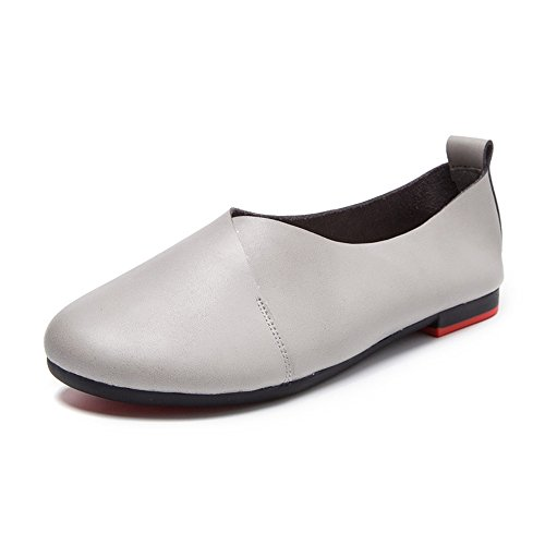 Grey Flats Toe Round Ballerina Shoes Womens xiaoyang Ballet Zw0qIx6wC