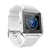 For Fitbit Blaze Watch,Haoricu Luxury Stainless Steel Watch Replace Metal Frame Watch Holder (White)