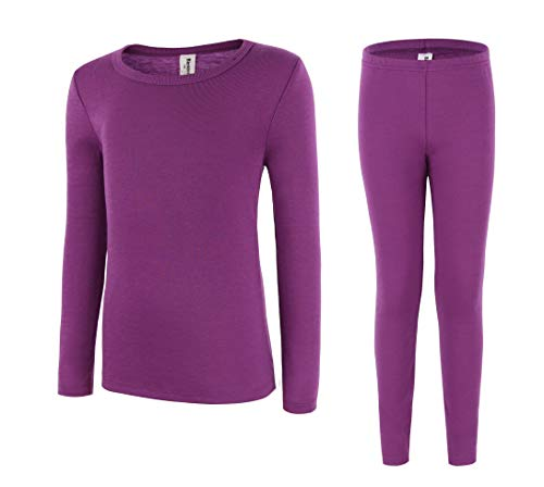 Bienzoe Girl's High Tech Fiber Polypropylene Thermals Long Johns Tops & Pants Set Size 10/12 Purple