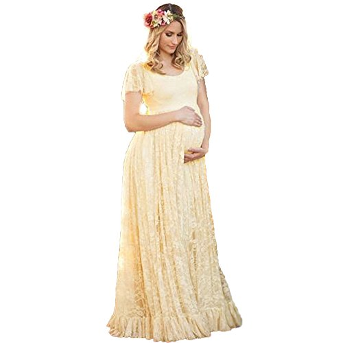 ENINE TRADE Photography Maternity Dress, Bridal Gown, Chiffon Lace Long Dress Falbala Short Sleeved High Waist Maxi Pregnant Wedding Dress For Baby Shower Plus Size (Beige, Medium)