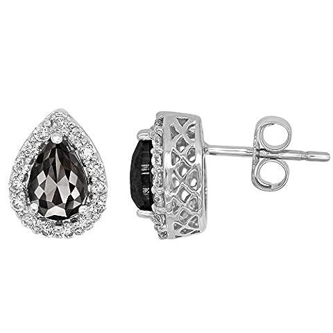 Romantic 1.20ct Patented Pear-shape Black Diamond Earrings with White Diamond Halo, 14k White Gold - I1 Pear Earrings
