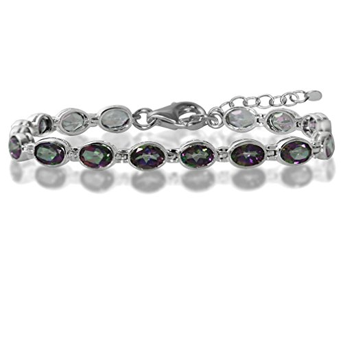 - 13.92ct. Mystic Fire Topaz 925 Sterling Silver Bezel Setting 7-8.5 Inch Adjustable Tennis Bracelet