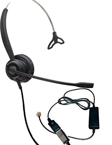 XS 820 Headset Bundle with Ergonomic Telephone Cable | For RJ9 Phones with Headset Port - VoIP, IP, Digital Phones: Cisco, Mitel, ShoreTel, Aastra, Toshiba, Nortel, Meridian, Yealink, NEC, Allworx (Phone Internet Headset)