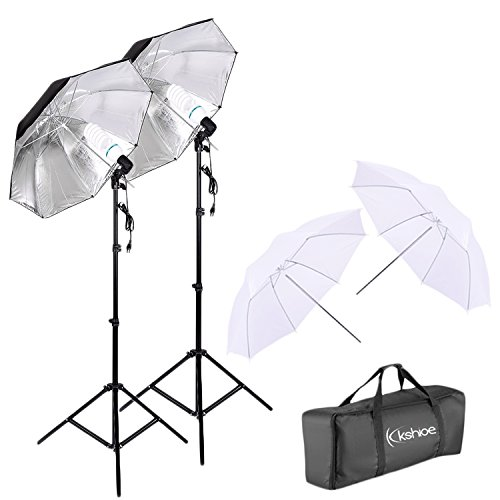 Kshioe 450W Photography Dual Photo Umbrella Lighting Video Continuous Light Kit-Black/Silver &White Umbrella Reflector+ Photo Light Bulb+ Tall Studio Umbrella Flash Strobe Light Stand