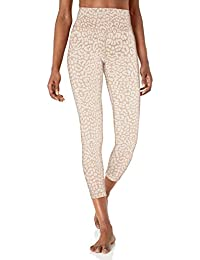 "Amazon Brand - Core 10 Women's Leopard Jacquard Spectrum Yoga High Waist 7/8 Crop Legging-24"""