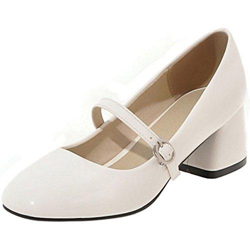 femmes talons Jane Mary compensés moyen modèle pour Chaussures Coolcept blanc à RBczA8SwyX