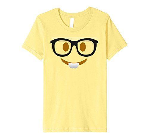 [Kids Halloween Emoji Nerd Face Costume Premium T-shirt 8 Lemon] (Nerd Halloween Costumes For Girls Kids)
