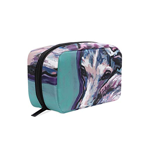 Whippet Dog Cosmetic Bags Organizer- Travel Makeup Pouch Ladies Toiletry Case for Women Girls, CoTime Black -