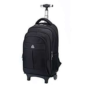 "Little World IT Wheeled Backpack Lightweight Portable Carry-on Luggage with Removable Roller Frame for Traveling Business 16"" Laptop Black"