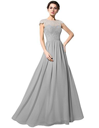 Sarahbridal - Vestido - Sin mangas - para mujer gris