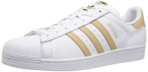 adidas Originals Men's Superstar Foundation Casual Sneaker, White/Linen Khaki/Gold Metallic, 11.5 D(M) US