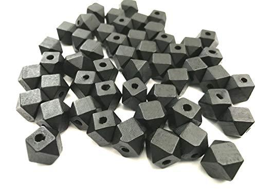 50 pcs Black Octagon Wood Beads 12mm Bead Jewelry Macrame Wooden Tool Square