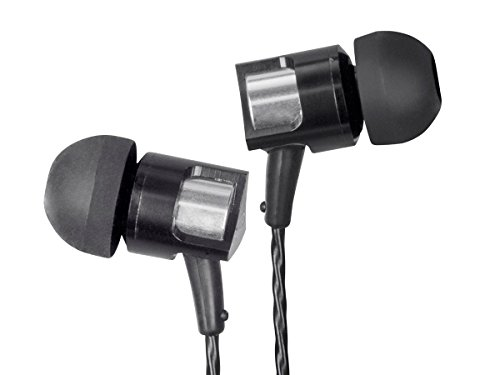 Monoprice MP10 in-Ear Earphones - Black with Titanium Composite Drivers in-line Microphone and Control for Apple iPhone iPod Android Smartphone Samsung Galaxy Tablets MP3