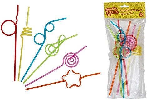 [Time for Treats Curly Drinking Straws, 6 Pack] (Drinking Hats With Straws)