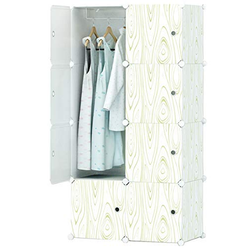 KOUSI Portable Closet Wardrobe Organizer Clothes Armoire Cube Storage Dresser for Bedroom, Large & Study, Wood Grain Pattern, 5 Cubes&1 Hanging Section