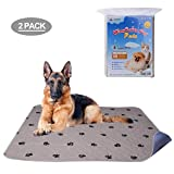 PUPTECK 2 Pack Washable Dog Pee Pads - Waterproof and Reusable Whelping Mat for Puppy Housebreaking and Travel Medium