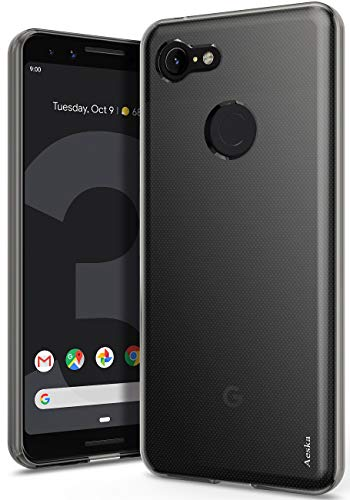 Google Pixel 3 Case, Aeska Ultra [Slim Thin] Flexible TPU Soft Skin Silicone Protective Case Cover for Google Pixel 3 (Smoke - Cover Soft Tpu Smoke Case
