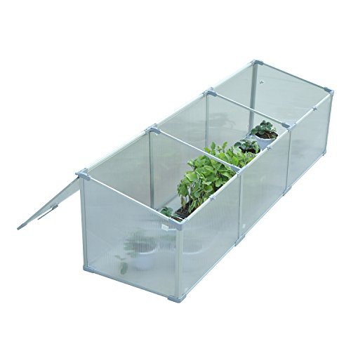 """Outsunny 71"""" Aluminum Vented Cold Frame Greenhouse - Silver/Transparent Build Cold Frame"""