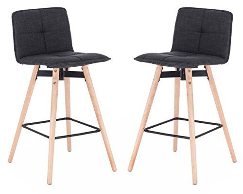 Grey Bar Stool Wooden Eiffel Legs (Set of 2) Counter stool Easy Assembly Sturdy Footrest Comfortable Retro Modern Chair SurplusRD