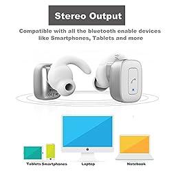 allimity Cordless True Wireless Headphones Bluetooth Stereo Wireless Earbuds with Mic for iPhone 7 Plus iPhone 6s Plus iPhone 6 iPhone 5s Samsang Noise Cancelling Sweatproof In Ear Earphones(Silver)