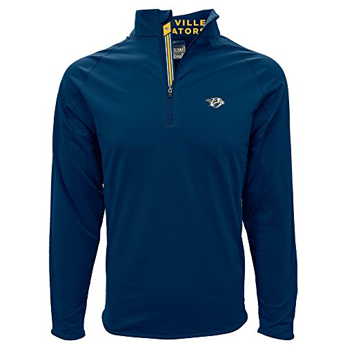 Levelwear LEY9R NHL Nashville Predators Men's Metro Insignia Banner Stripe Quarter Zip Mid-Layer Apparel, Small, Navy