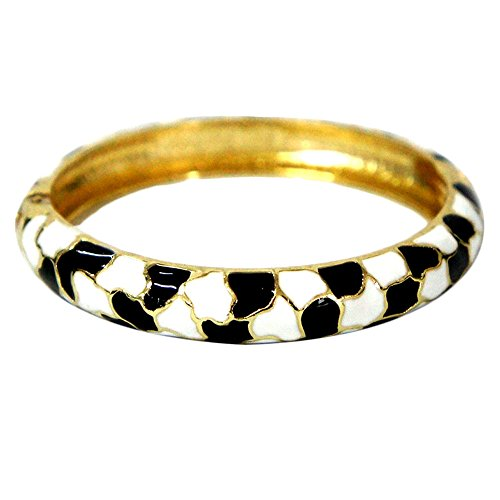 Diamond Vintage Black Bangles (UJOY Vintage Bangle Bracelet Colorful Zinc Alloy Golden Plated For Women Holiday Gifts Jewelry Box 55A44 white-black)