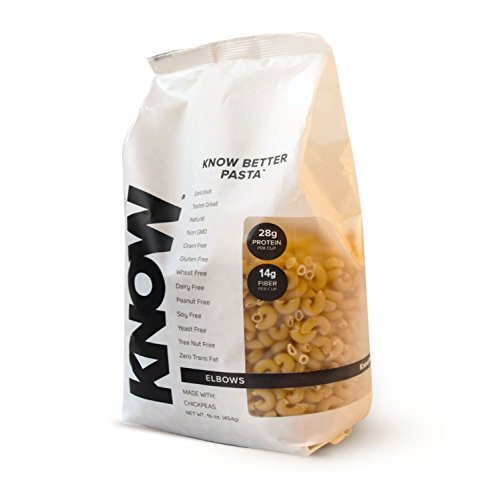 KNOW Foods Chickpea Pasta, Elbows, Gluten Free, Grain Free, Vegan, 1 lb Bag