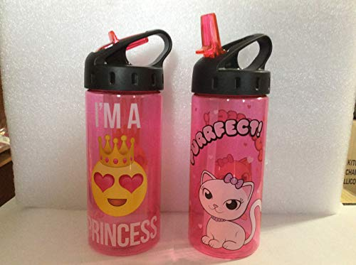 BACK TO SCHOOL 2 PACK Fun Emoji 16 0z Girls Kids Pink Water Bottles with fun designs I'm A Princess and Kitten Purrfect! with NEW NO SPILL FLIP TOP SPOUT