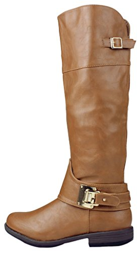 Zipper Cheatnut Fur Buckle Women lined Faux Leather Golden Knee Boots High Motorcycle Equestrian Riding SOFxHYxq6