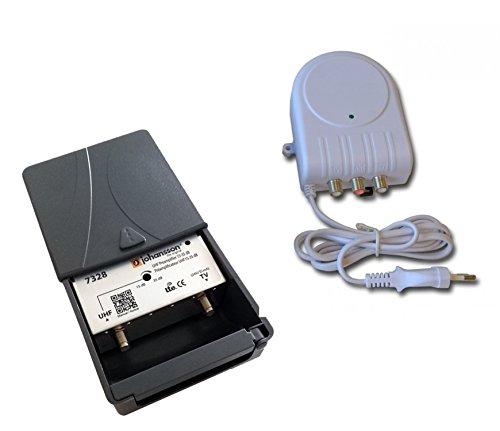 Kit de preamplificador de antena de TV Johansson para TDT y TDT HD con filtro activo de 4G/LTE y fuente de alimentacion. Kit Preamplificador UHF de 15 a 35 dB + Fuente de alimentacion Johansson
