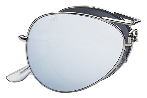 Foldies Silver Folding Aviators with Polarized Silver Mirrored Lenses ()