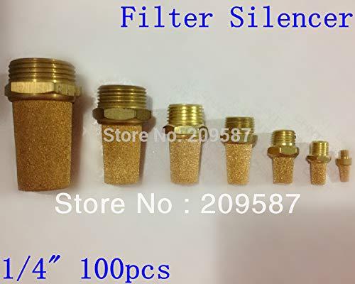 Fevas 100pcs Sintered Bronze Pneumatic 1/4'' PT Male Thread Exhaust Silencer Muffler by Fevas