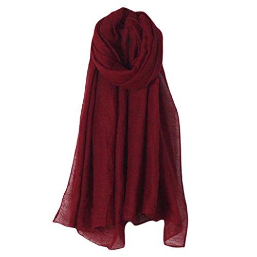 Linen Blend Scarf - OHTOP 1pc Women Elegant Solid Color Long Scarf Wrap Vintage Cotton Linen Large Shawl Hijab (Wine Red)